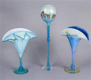 (3) Vandermark Art Glass Vases