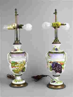 Pair of Porcelain Urn Table Lamps