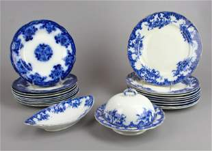 (20) Assorted Flow Blue Plates and Butter Dome