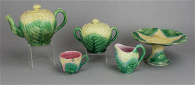 (5) Etruscan Majolica Cauliflower Tea Set w/ Compote