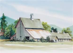 (2) Pcs:  Ellen Hall Farm Landscape Watercolor & Print