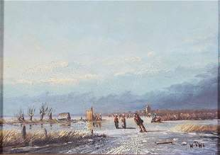 Dutch Winter Landscape Painting with Skaters