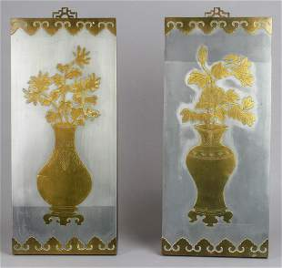 Pair Chinese Mixed Metal Wall Plaques