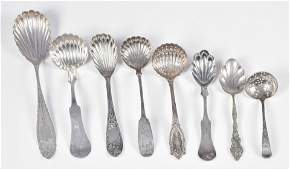 (8) Sterling and Coin Sugar Shells and Ladles