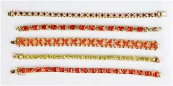 (5) Gold tone Bracelets .925