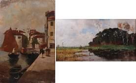 19th C Landscape & Harbor Scene Painting