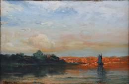 19th C Landscape Painting w/Sailboat