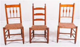 Pair cherry woven side chairs, ladderback woven seat