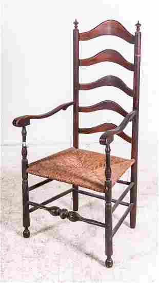 5 slat ladderback turned stretcher armchair, 18th c