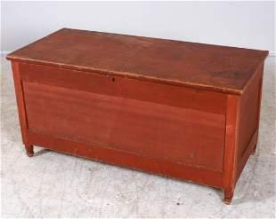 Mixed softwood paneled Sheraton blanket chest