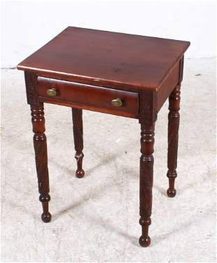Carved mahogany and cherry one drawer Federal stand