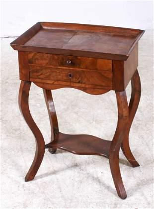 Burl walnut Biedermeier two drawer stand