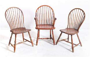 (3) Bamboo turned Windsor Chairs