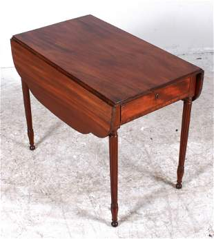 Mahogany American Sheraton Pembroke Table w/ Drawer