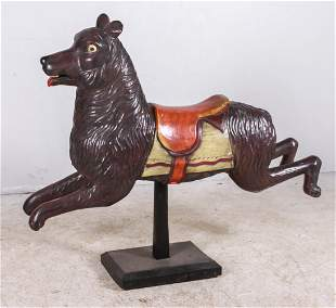 Carved and painted wood figure of wolf/dog/bear