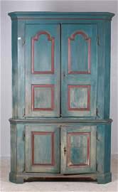 18th c 2-pc Corner Cupboard