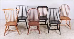 Assembled set (4) Antique Windsor chairs, +2 Repros