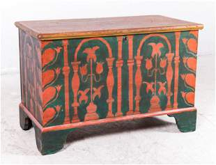 Brown painted pine dovetailed blanket chest