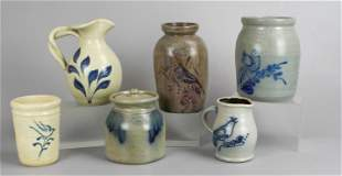 (6) Pcs Blue Decorated Stoneware