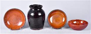 (4) Redware Pottery Dishes and Crock