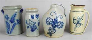 (3) Pcs Blue Decorated Stoneware Pottery