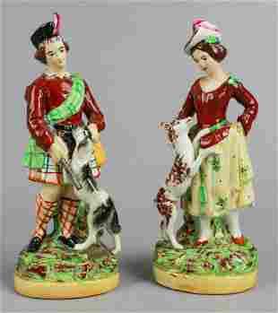 Pair Staffordshire Figures