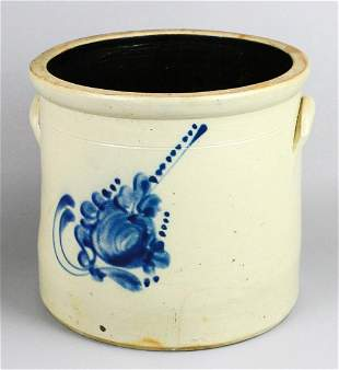 Connolly & Palmer Blue Decorated Stoneware Crock
