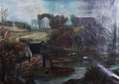 19th C Primitive Landscape Painting