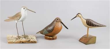 (3) Carved Wood Shore Bird Figures