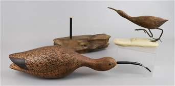 (2) Carved Wood Shore Bird Figures