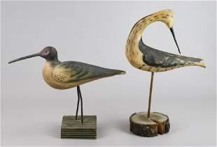 (2) Carved Wood Folk Art Shore Bird Figures