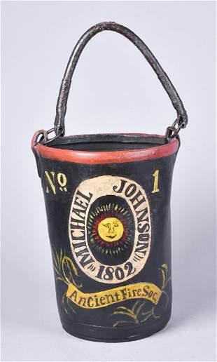 American Painted Leather Fire Bucket