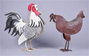 (2) Sheet Metal Rooster Figures