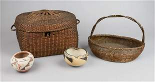 Wheat Straw Basket ,Splint and (2) Pots