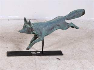 Fox full bodied copper weathervane on stand