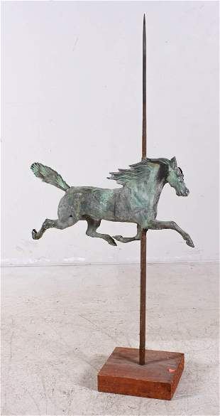 Full bodied running horse weathervane on stand