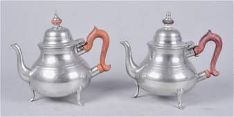 (2) Colonial Williamsburg Stieff Pewter Teapots