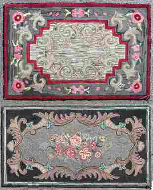 (2) Floral Hooked Rugs