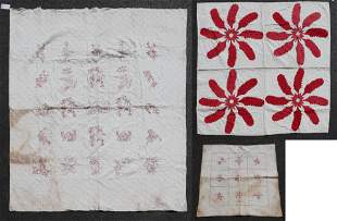 (2) Redwork and Floral Pieced Quilts