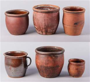 (6) Ovoid Redware Crocks