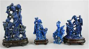 (4) Chinese Carved Blue Stone Figures