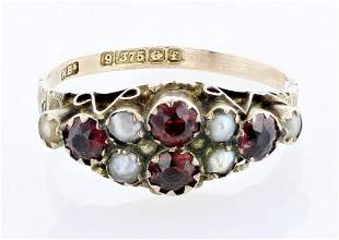 9Ct. Antique Garnet and Pearl Ring