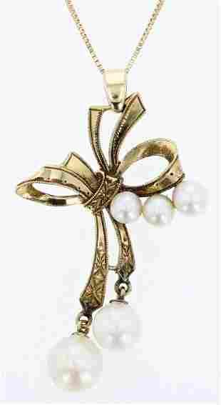 14K Vintage MIKIMOTO Ribbon Pearl Necklace