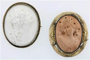 (2) 19th C. Carved Lava Cameo Pins
