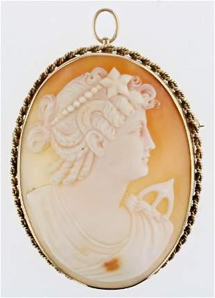 Roman Goddess Diana Cameo Pendant Brooch