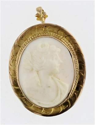 Moon Goddess Cameo Pendant Brooch