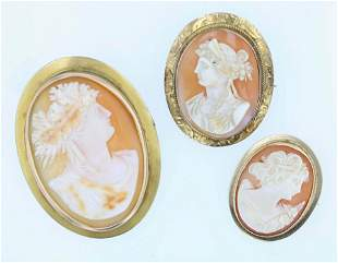 (3) Carved Shell Cameos 10K