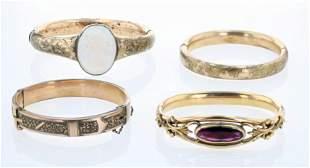 (4) Pc Victorian and Vintage Bangle Bracelet Lot