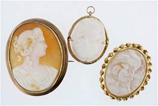 (3) 14K Cameo Brooches and Pendants