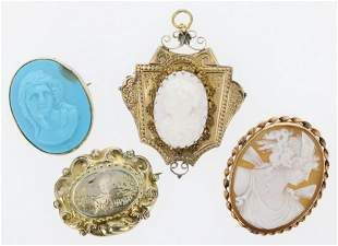 (4) Pc Cameo, Brooches and Pendant Lot